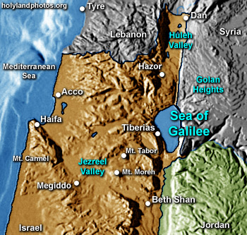Peta kota Tiberias dan Danau Galilea