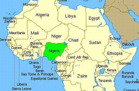 Peta Nigeria dan negara tetangganya