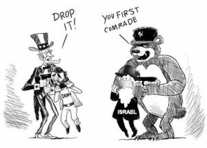 Karikatur Beruang Russia melawan Israel