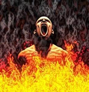 Seorang pria menjerit di Neraka