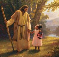 Yeshua sedang menuntun anak kecil di Sorga
