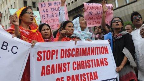 Masyarakat Kristen Pakistan protes diskriminasi Muslim atas Kristen di Pakistan.jpg